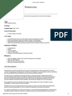 career cruising - pediatrician | Residency (Medicine