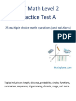 SAT II Math Level 2 Practice Test A