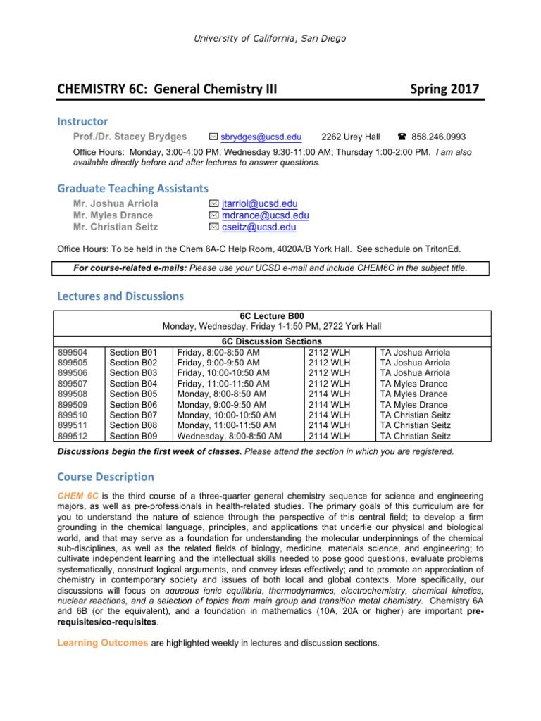 SB Chem6C SP17 Syllabus 03312017 | Academic Dishonesty