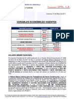 Variables Economicas Vigentes (Mayo 2017)