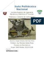 Práctica 2 Sistema de Carburación