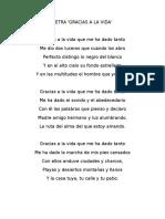 Letra Gracias a La Vida Violeta Parra