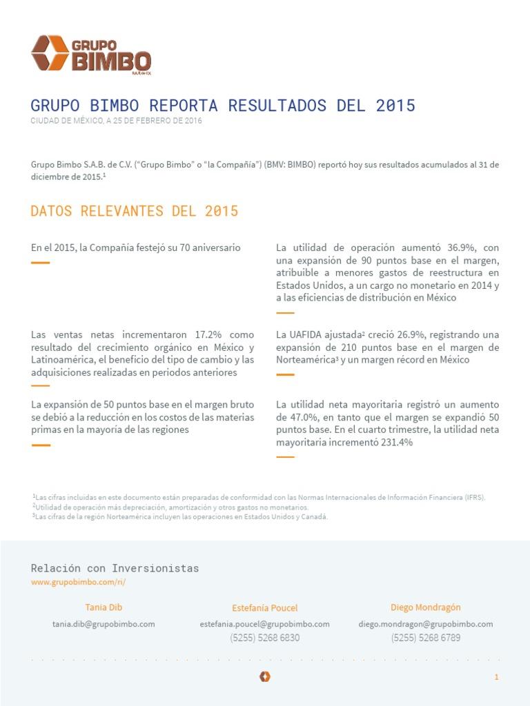 Grupo Bimbo Resultados 2015 Pdf