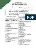 Agricultural Economics 2013 phd question paper