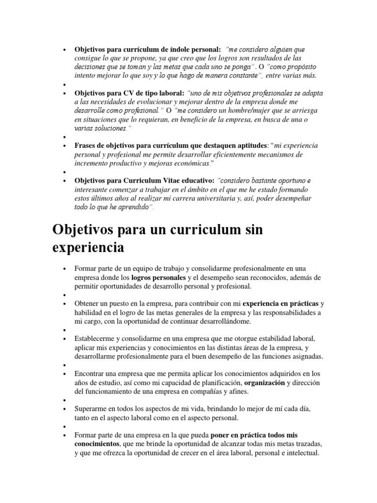 Lujoso Objetivos En Currículum Imágenes - Colección De Plantillas De ...
