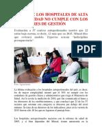 Hospitales de Alta Complejidad No Cumplen
