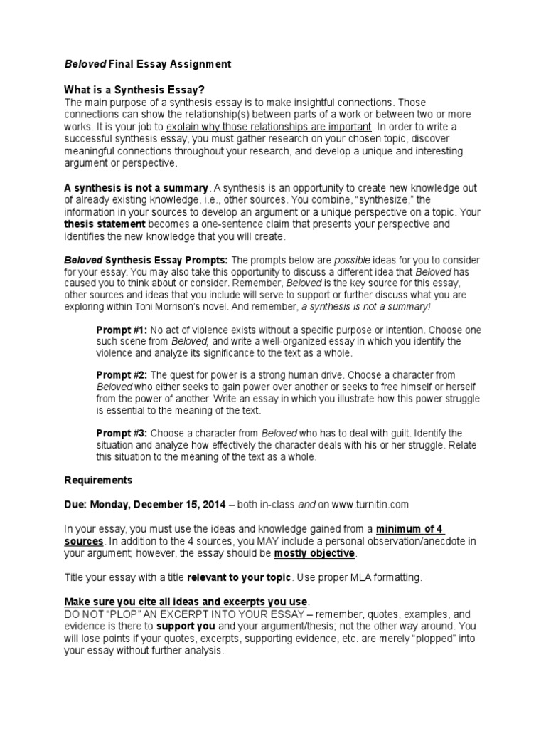 beloved synthesis essay assignment essays justification