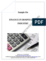 Sample on Finance in Hospitality Industry By Instant Essay Writing