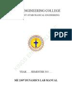 ME2307 Dynamics Lab