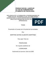 NFLUENCIA DE LA FORMACIÓN A PADRES/MADRES DE FAMILIA EN EL DESARROLLO DE LAS HABILIDADES BÁSICAS PARA LA LECTO-ESCRITURA EN NIÑOS DE 5-7 AÑOS QUE PRESENTAN DIFICULTAD EN EL APRENDIZAJE