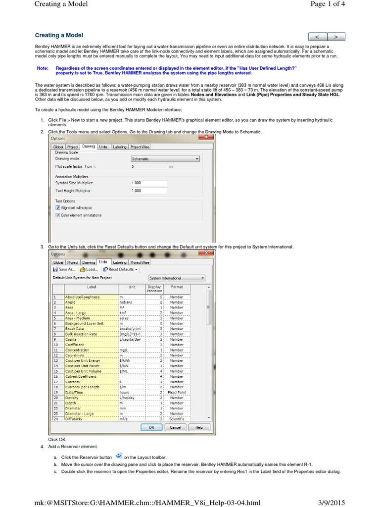 Bentley Hammer tutorial | Button (Computing) | Pump