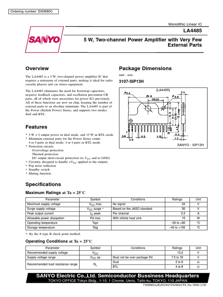 La4485 Datasheet Capacitor Amplifier Dc Protection Circuits
