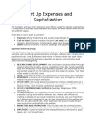 Start Up Expenses and Capitalization