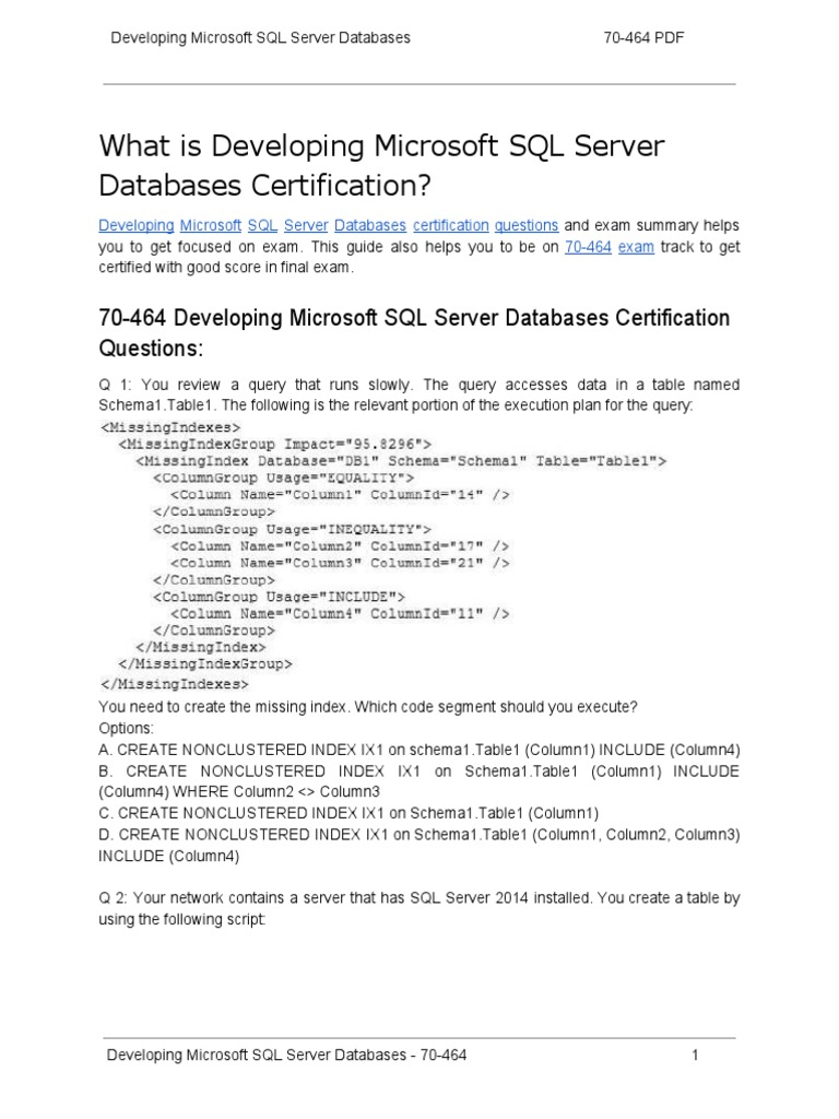 70 464 certification guide and how to crack exam on developing 70 464 certification guide and how to crack exam on developing microsoft sql server databases microsoft sql server database index xflitez Choice Image