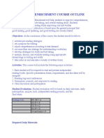 Reading Enrichment Course Outline