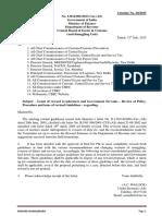 Customs Circular No. 20/2015 Dated  31st July 2015