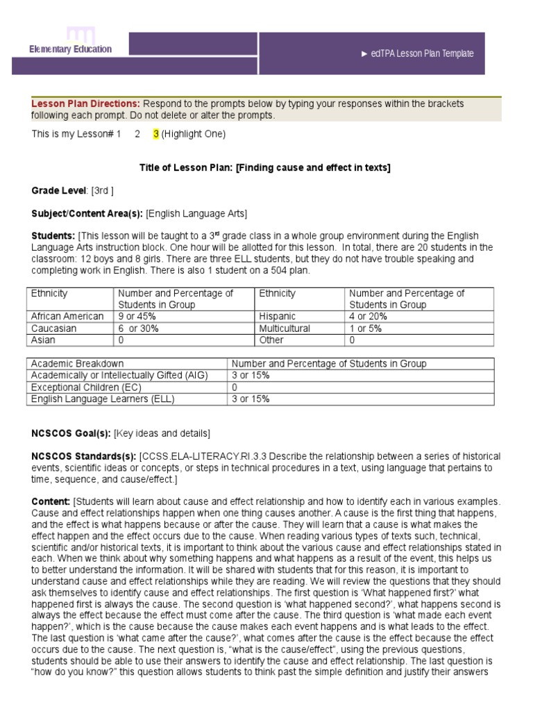 Elem Edtpa Lesson Plan Causality Lesson Plan - Gifted lesson plan template