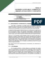 Ingenieria Sanitaria y Ambiental Origen Evolucion y Concepto - Ingenieria Sanitaria y Ambiental - Apuntes - Tema 0 PDF