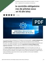 Désactiver Le Contrôle Obligatoire Des Signatures de Pilotes Sous Windows 8 Et 10 (64 Bits) - Le Crabe Info