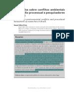 A Pesquisa Sobre Conflitos Ambientais e o Assédio Processual a Pesquisadores No Brasil - ALTERADO