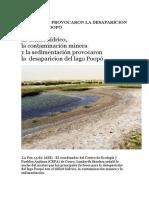 Causas Que Provocaron La Desaparicion Del Lago Poopó