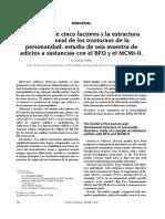 El Modelo de Cinco Factores y La Estructura Dimensional de Los Trastornos de La Personalidad - Estudio de Una Muestra de Adictos a Sustancias Con El BFQ y El MCMI-II.