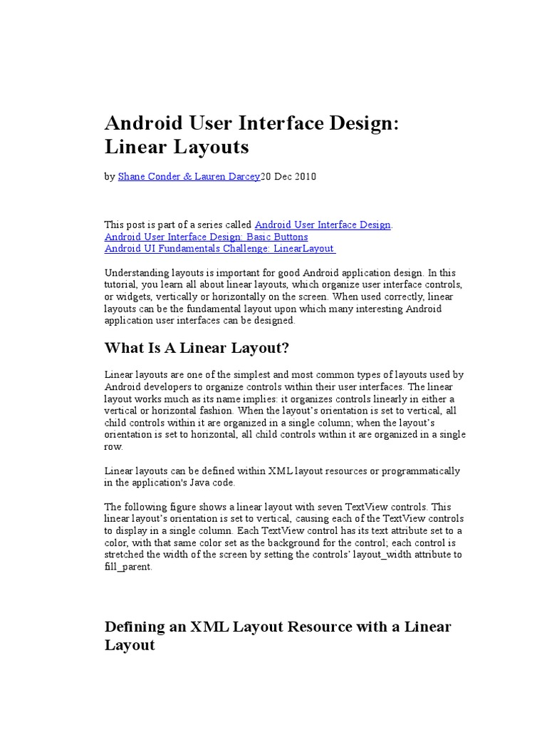 3 Android User Interface Design Linear Layouts | Widget (Gui