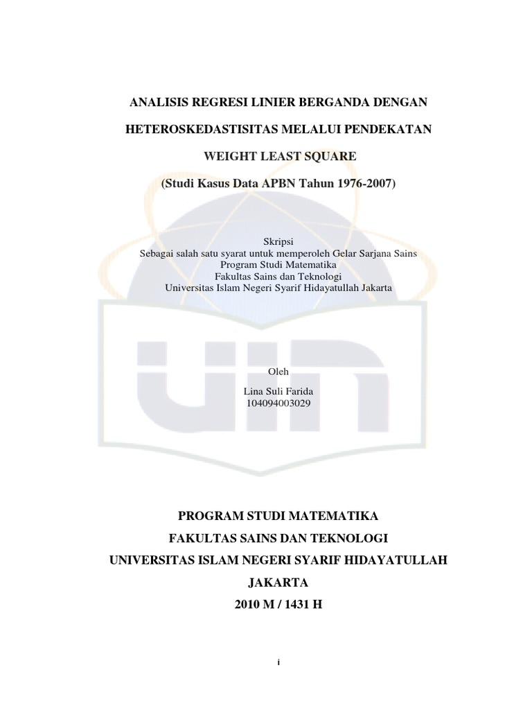 Skripsi Analisis Regresi Linier Berganda Pdf Kumpulan Berbagai Skripsi