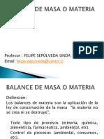 Balance de Masa o Materia