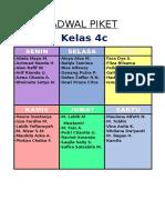 Jadwal Piket Kelas 4c