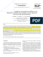 Mathematical Formulation and Numerical Modeling of Wax Deposition in Pipelines From Enthalpy–Porosity Approach and Irreversible Thermodynamics