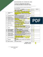 Rubrica de Evaluacion Del Plan de Tesis 2015