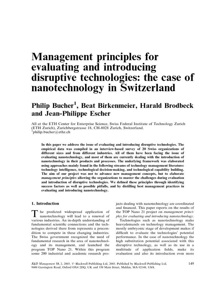 Bucher_et_al-2003-R&D_Management_disruptive+PM | Strategic