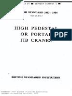 Bs 2452-High Pedestal or Portal Jib Cranes