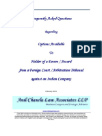 Frequently Asked Questions Regarding Options Available to Holder of a Decree / Award from a Foreign Court / Arbitration Tribunal against an Indian Company