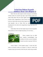 Bahan Herbal Dan Bahan Organik Dalam Budidaya Ikan Lele