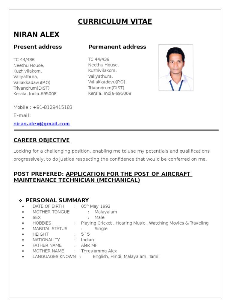 Curriculum Vitae Airbus Aviation
