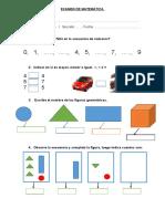 Examen de Matemática Para Primer Grado