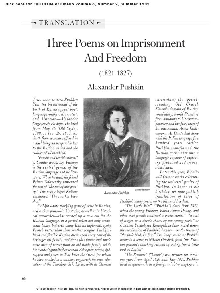 Alexander Pushkin, Prisoner: analysis of the poem 27