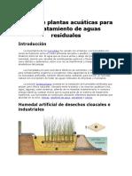 El Uso de Plantas Acuáticas Para El Tratamiento de Aguas Residuales