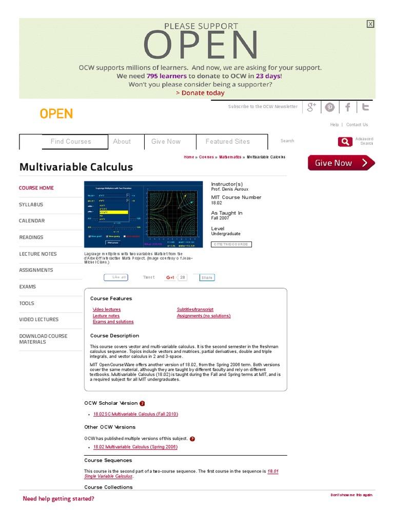 Mit opencourseware calculus multivariable