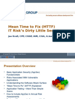 """Application Security - """"Mean Time to Fix – IT Risk's Dirty Little Secret"""""""