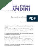 Communiqué de Presse de Hugues dit Philippe Ramdini du 1er juin 2017