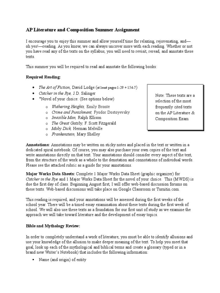 major works data sheet 5 essay