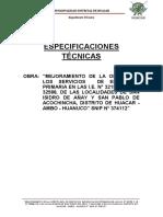 Especificaciones Técnicas de San Isidro de Añay