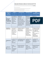 Rúbrica Para Evaluar Producción de Textos Escritos