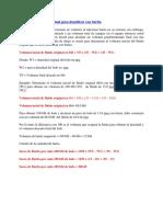 Volumen Inicial de Fluido Original Para Densificar Con Barita