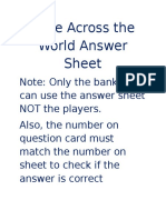 Race Across the World Answer Sheet