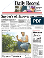 Front page - York Daily Record/Sunday News, July 23, 2010