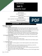 VBS - Day 1 - 3's-Pre-K - Teaching Plan